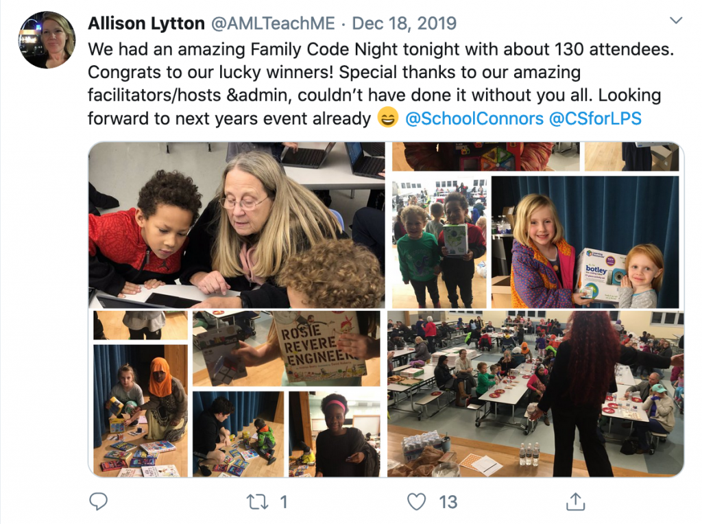 Tweet from Allison Lytton of Lewiston schools
