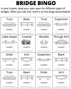 Click here to download the Bridge Bingo sheets.