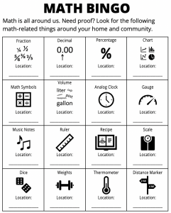 Science Lab @ Home: Math Bingo